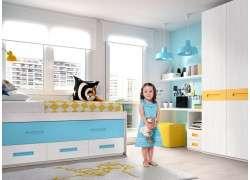 Dormitorio juvenil con cama compacta y armario