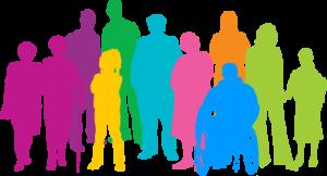 Siluetas de personas pintadas y rellenadas de distintos colores: rosa, morado, amarillo, verde, turquesa, azul, naranja, verde.