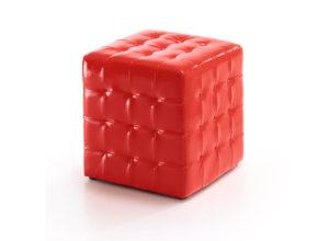 Puff cuadrado de polipiel brillante color rojo modelo Mollet