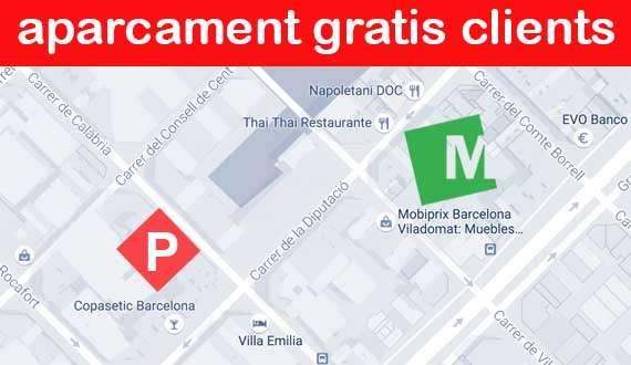 Parking Tienda de muebles, sofás y colchones en Barcelona Viladomat - Mobiprix