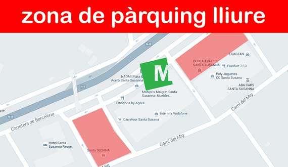 Parking Tienda de muebles, sofás y colchones en Malgrat - Santa Susanna - Mobiprix