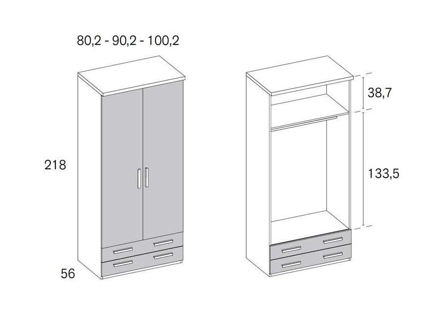 Armario de dos puertas y dos cajones inferiores