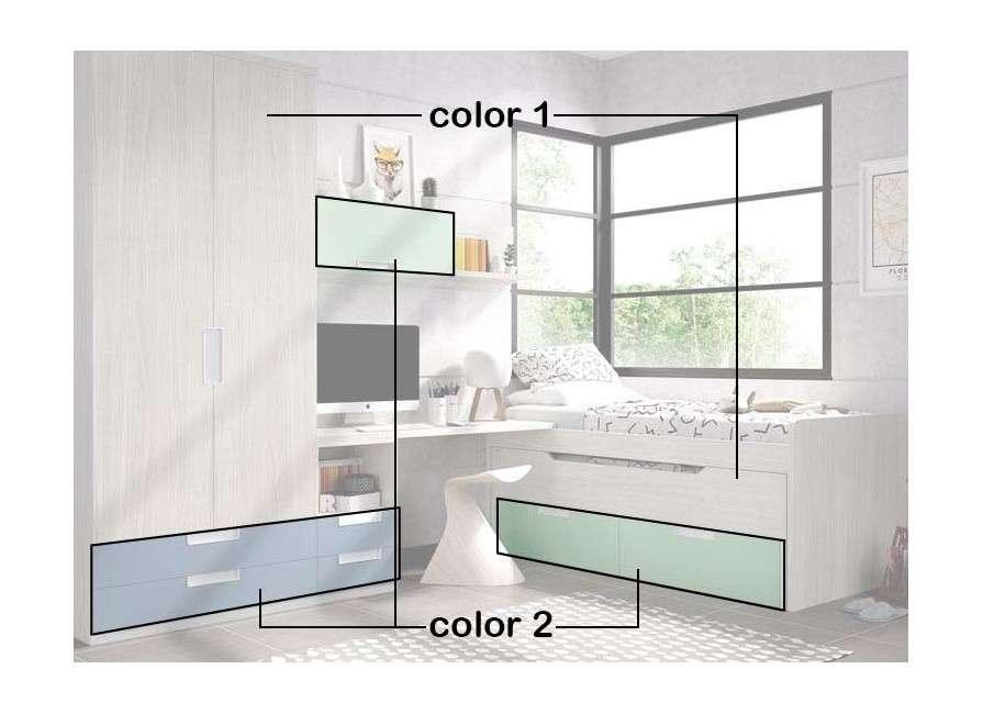 Habitació juvenil amb llit compacte i desplaçable