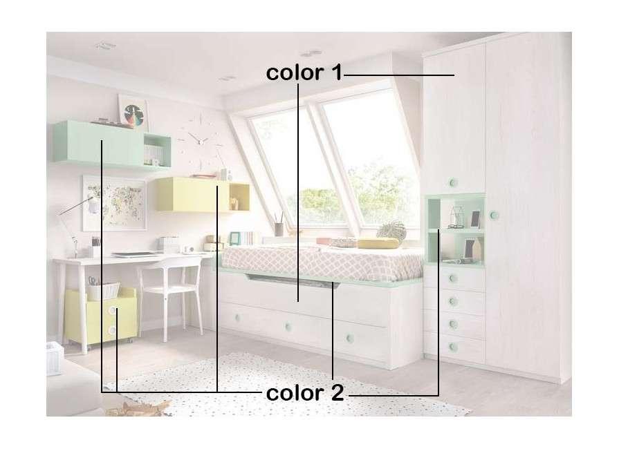 Habitació juvenil amb llit compacte, armari i escriptori