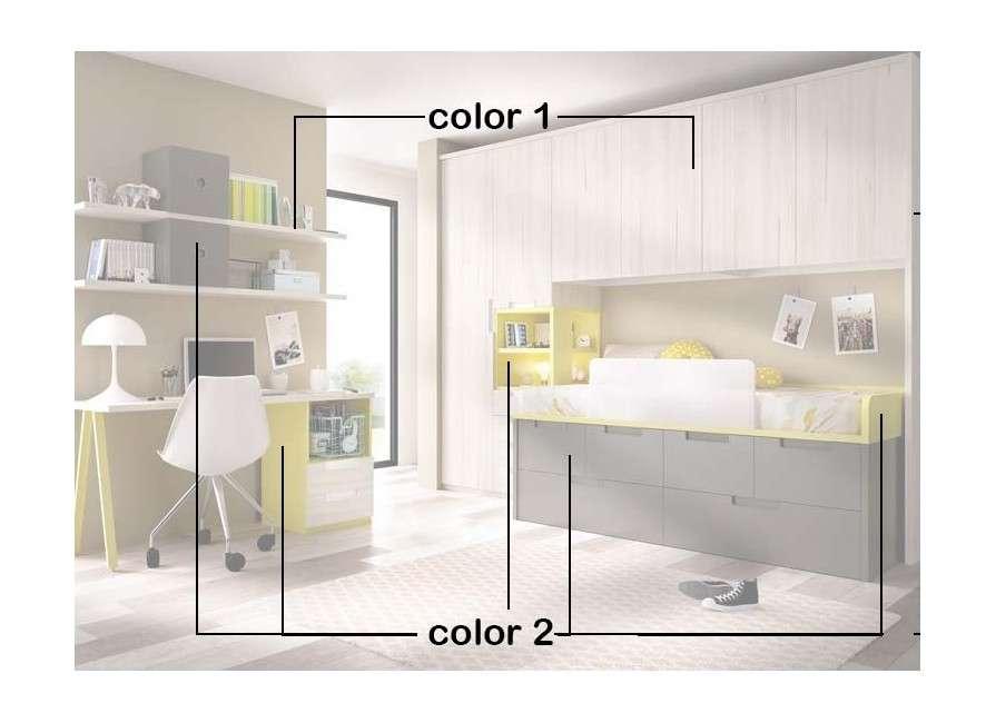 Habitación juvenil con cama compacta y armario puente