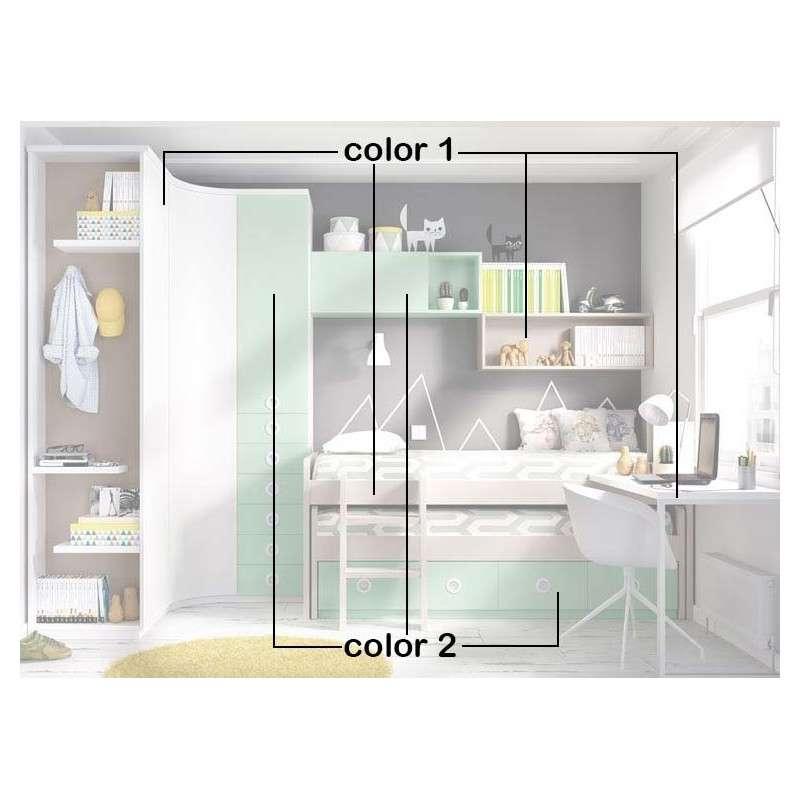 Conjunto para habitación juvenil con armario rinconero y escritorio