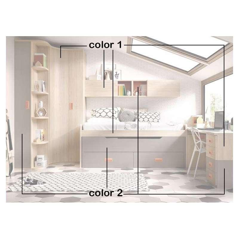 Habitació juvenil amb llit compacte i raconer