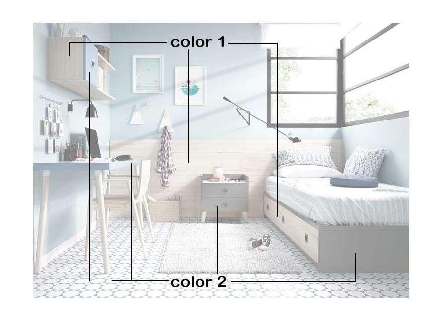 Habitación juvenil con cama nido y escritorio
