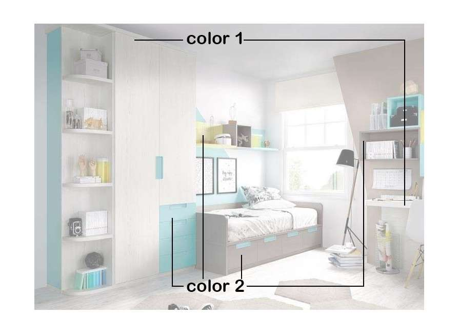 Habitación juvenil completa con estantería vertical