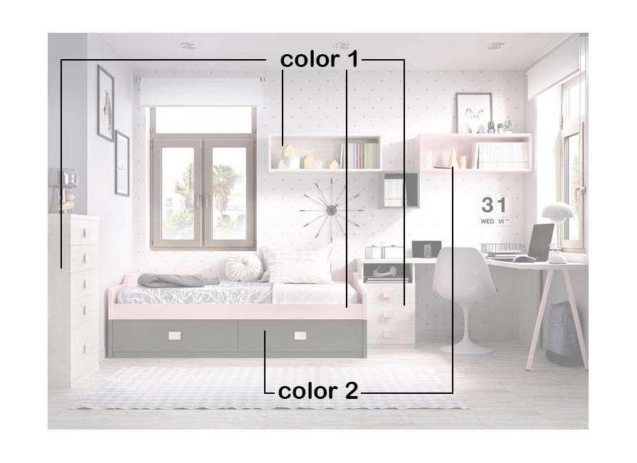 Habitació juvenil amb escriptori i llit niu