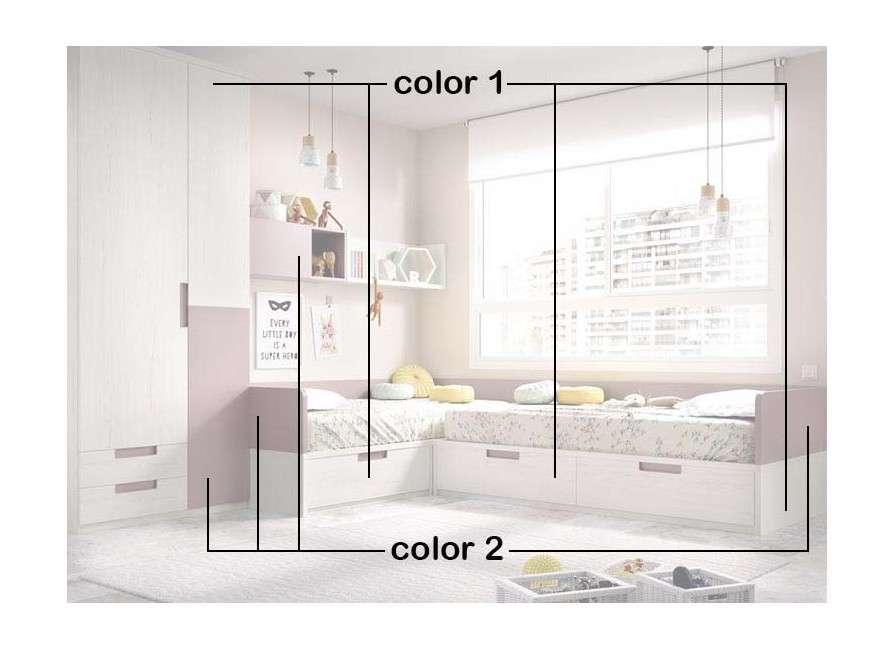 Habitación juvenil con dos camas en L