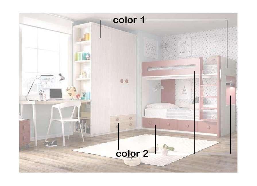 Habitación con litera y escritorio