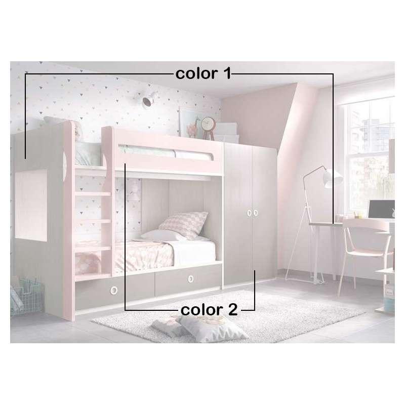 Conjunto de litera con armario y escritorio
