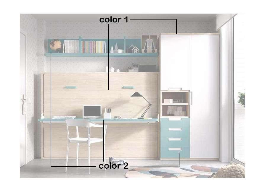 Conjunto con mueble-cama abatible vertical de 135 cm