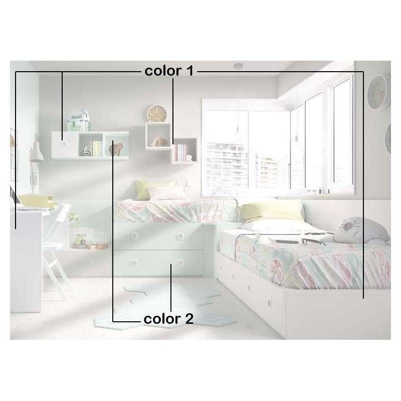 Conjunt juvenil amb dos llits modulars en L