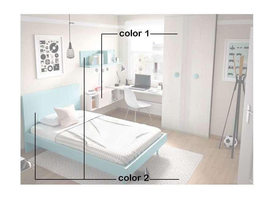 Dormitorio juvenil con cama de 135 cm