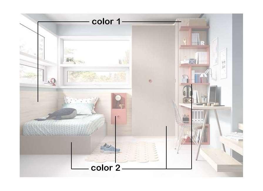 Habitación  juvenil con cama individual elevable