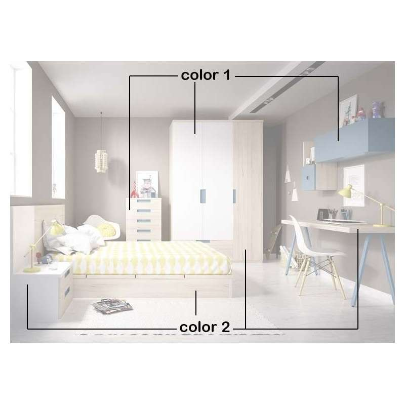 Conjunto para habitación juvenil con cama tatami de 135 cm