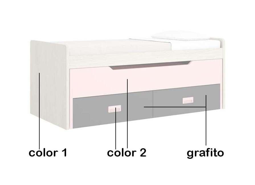 Cama compacta con desplazable y dos cajones