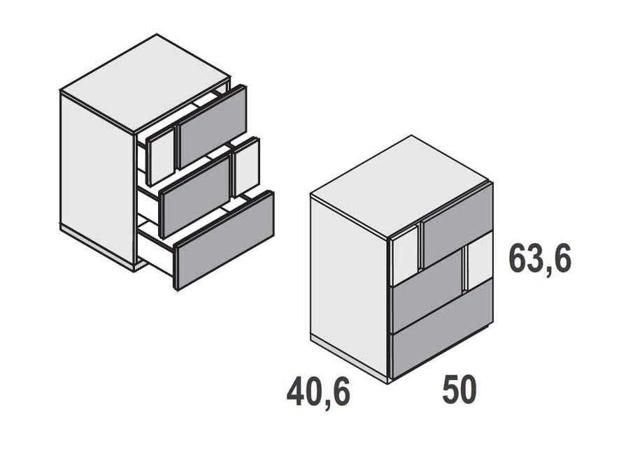 Composición de cabecero Delos y mesitas Duo de 3 cajones