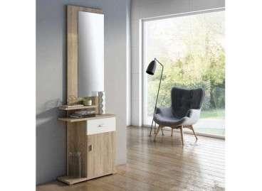 Mueble de recibidor con espejo Umbría - Cambrian y blanco