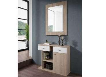 Conjunto para recibidor con espejo Lazio - Cambrian y blanco