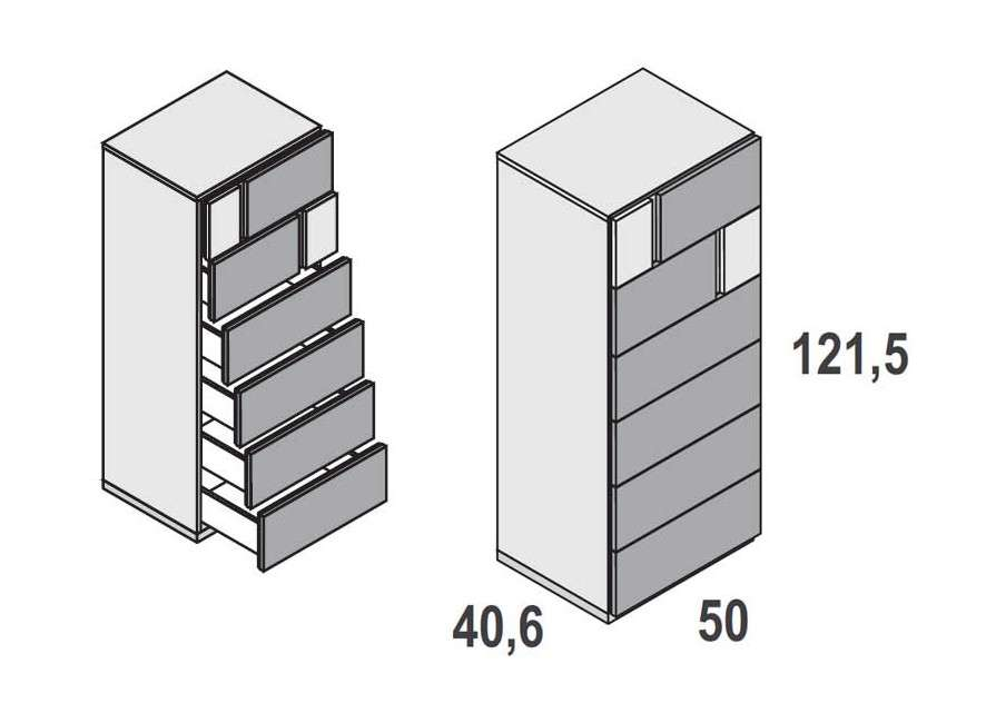 Xifonier de 6 calaixos model Duo
