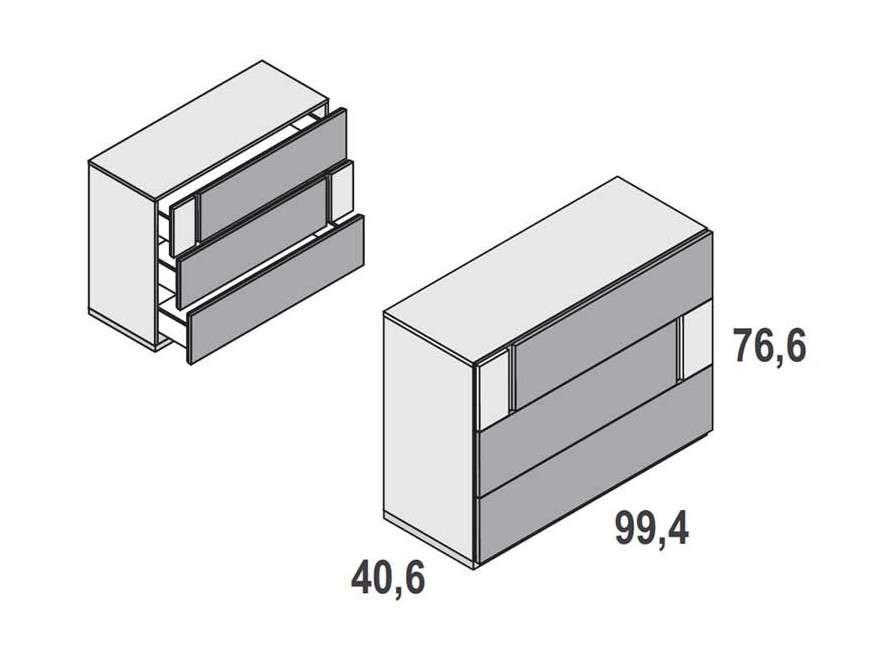 Cómoda de 3 o 4 cajones modelo Duo