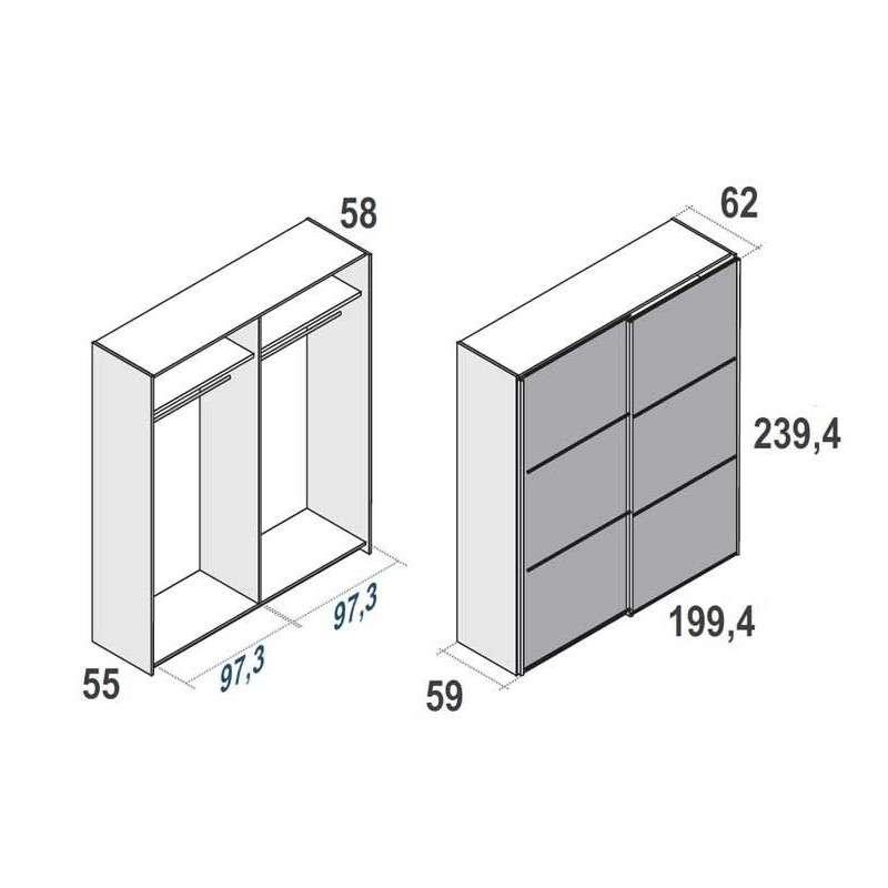 Armari de portes corredisses de 240 cm d'alçada