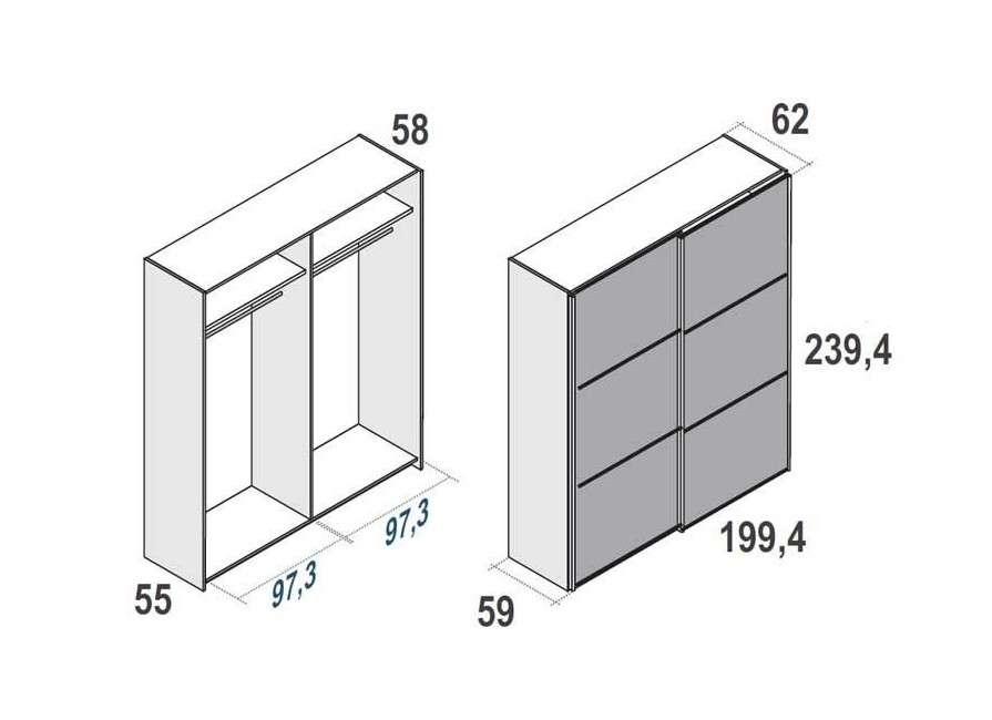 Armario de puertas correderas de 240 cm alto