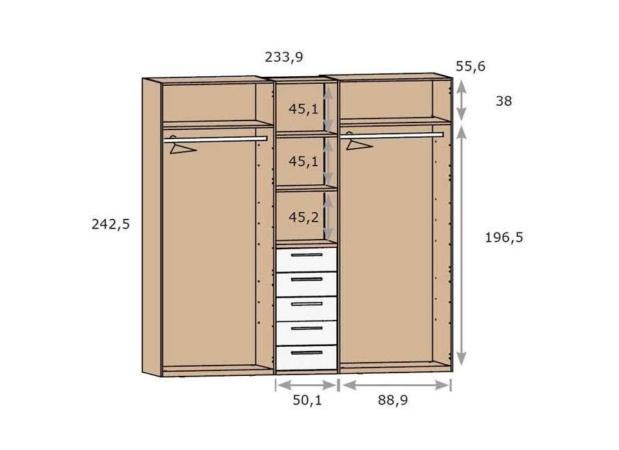 Armario de 4 puertas con columna central