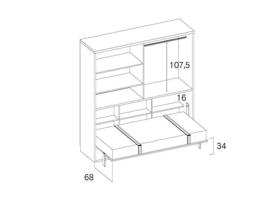 Conjunto con armario y cama abatible individual