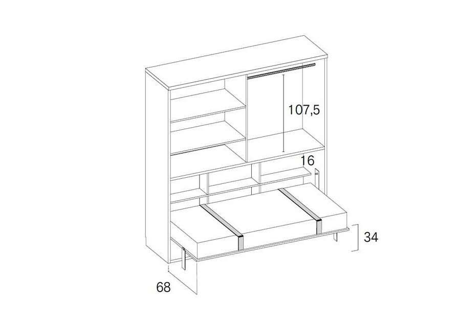 Habitació amb armari i llit abatible individual