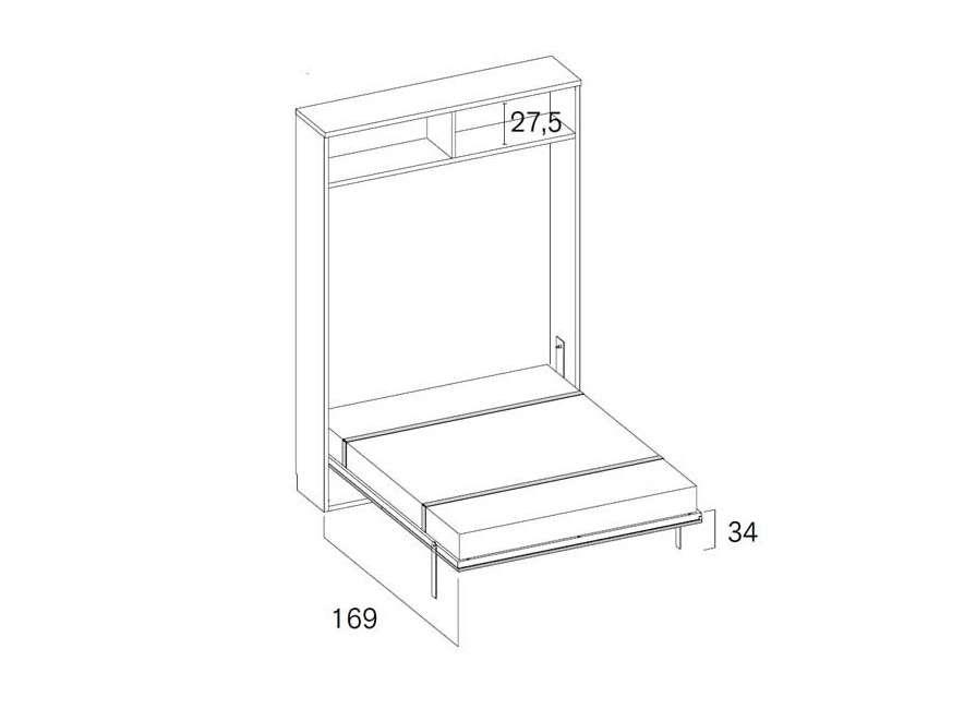 Composición con cama abatible vertical de 135 cm