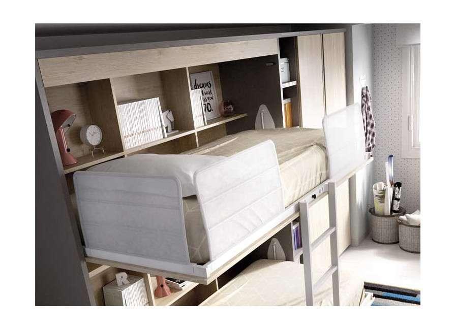 Dormitorio con litera abatible y escritorio
