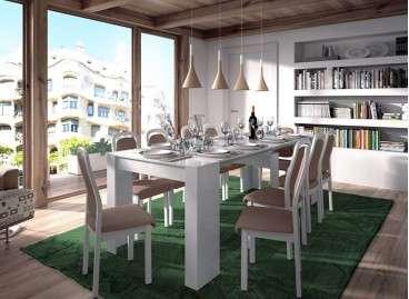 Mesa Convertible comedor y extensible hasta 237 cm mod.Mataró - Blanco