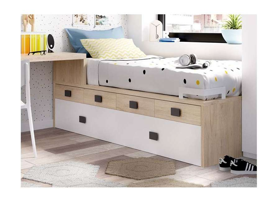 Composición juvenil con cama modular y escritorio