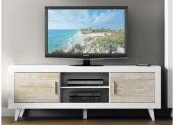 Mueble de TV ancho con patas - Blanco roto