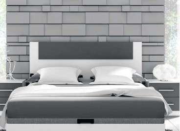 Cabecero de madera para cama Malgrat - Blanco poro