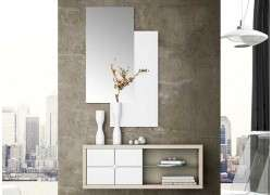 Mueble de recibidor con espejo modelo Badalona - Blanco-olmo