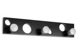 Penjador de paret en fusta amb penjadors rodons - Negre