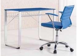 Mesa de estudio metálica con cristal Vendrell - Azul