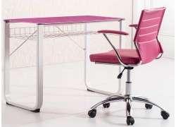 Mesa de estudio metálica con cristal Vendrell - Rosa