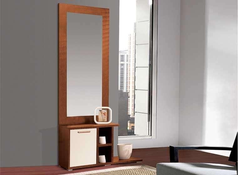mueble para recibidor mural con espejo tarragona cerezo blanco