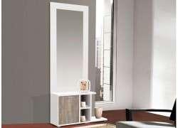 Mueble para recibidor mural con espejo Tarragona - Blanco cambrian