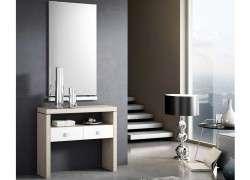 Conjunto de mueble de recibidor con espejo Cornellá - Olmo blanco