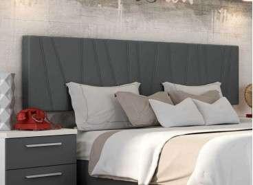 Cabecero de cama colgado Porto, tapizado en tres colores - Gris