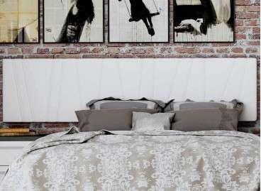 Cabecero de cama colgado Porto, tapizado en tres colores - Blanco