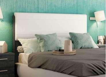 Cabecero de cama alto con tapizado Lyon barato - Ebony
