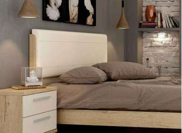 Cabecero de cama alto con tapizado Lyon barato - Bambú